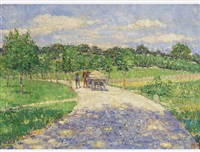 country road with cart by jean affeltranger