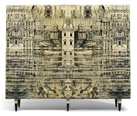 reflecting city cabinet by gio ponti and piero fornasetti