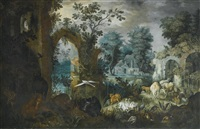 a pastoral scene with cattle, deer, goats and assorted birds by ruins, a village beyond by roelandt savery
