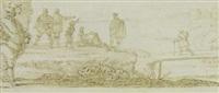paesaggio sul fiume con ponte e figure by juan de valdés leal