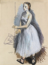 ballet dancer in white by moses soyer