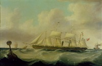 "the ""sarah sands"" off the american coast by w. j. nelson"
