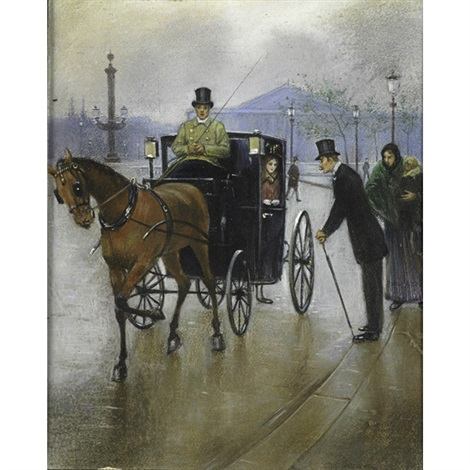 couple in carriage by jean béraud