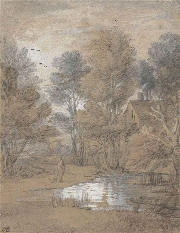 a cottage with trees reflected in a woodland pool by thomas gainsborough