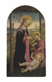 the madonna adoring the christ child by jacopo del sellaio