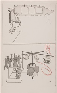 eight etchings from the large glass and other related works (8 works) by marcel duchamp