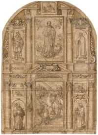design for an elaborate altarpiece with a central panel of the way to calvary with saint veronica by alonso cano