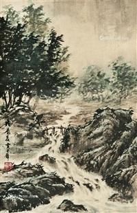 小桥流水 镜框 设色纸本 by huang junbi