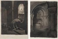 la crypte et mérovic en prière (pair) by jean paul laurens