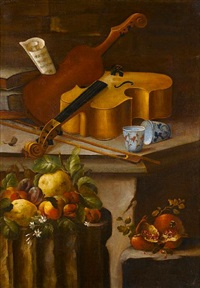 a basket of flowers on a stone ledge, with pomegranates, lemons, apples, strawberries and a fig (+ a violin with two porcelain cups on a stone ledge, with lemons, peaches and plums on a stone column; by cristoforo munari