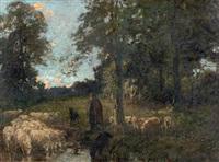 bergère et ses moutons à l'abreuvoir by adrien gabriel voisard-margerie