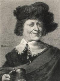 portrait of a gentleman holding a tankard by willem bartsius