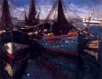 barco en un canal by georges hervet