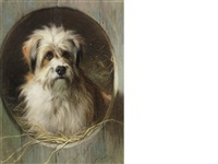 a terrier in a kennel by thomas earl
