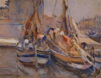 barche in porto, (1912-15) by lodovico tommasi