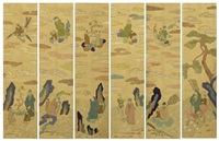 taoist hermits (in 6 folds) by anonymous-korean