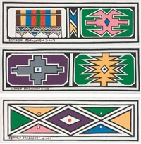 ndebele wall motifs (+ 2 others; 3 works) by esther mahlangu