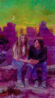teenage couple seated at canyon overlook by james avati