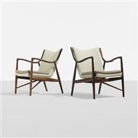 rare lounge chairs model nv-45 (pair) by finn juhl