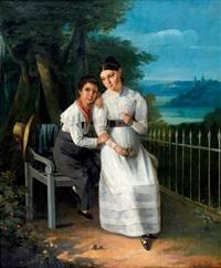 jeune fille et son frère en bordure de parc by johann heinrich richter