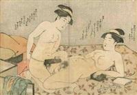 oban yoko-e, deux amies de volupté, nues sur un futon, l'une avec un godmiché (harikata) à son bassin.(pliure médiane, taches, petits trous) by katsukawa shuncho