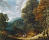bewaldete berglandschaft mit einem reiter by jan baptist huysmans