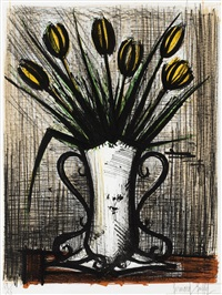 le vase de tulipes jaunes by bernard buffet