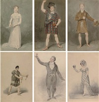 miss s. booth as amanthis in the child of nature (+ 5 others; 6 works, some smaller) by samuel de wilde