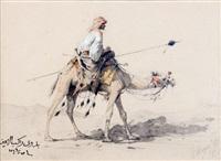 chamelier dans le désert égyptien et etude d'un dignitaire en buste (recto-verso) by victor pierre huguet