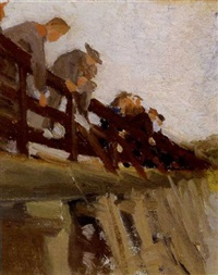 fishermen on the footbridge, ogunquit by gertrude fiske