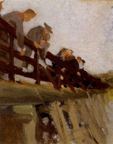 fishermen on the footbridge ogunquit by gertrude fiske