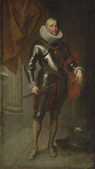 portrait of ambrogio spinola (1569-1630), full-length, in armour, wearing the order of the golden fleece, holding a baton in his right hand, his left hand resting on the hilt of his sword by sir anthony van dyck