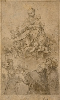 the virgin and child in glory, with a putto presenting the rosary to saint dominic, accompanied by saints by alonso cano