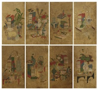 scholar's utensils (in 8 folds) by anonymous-korean
