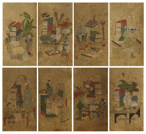 scholars utensils in 8 folds by anonymous korean