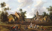 busy village scene by joost cornelisz droochsloot