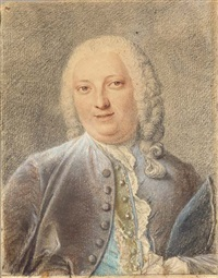 portrait of jacques-louis françois roussel, marquis de courcy, holding a hat by jacques-andré portail
