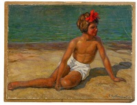 child on the beach by sergei vladimirovich oleinikov