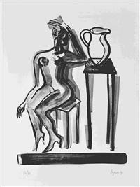 frau mit panflöte. sitzender weiblicher akt (2 works) by elvira bach