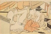 oban yoko-e, amants pendant les prémices de délices by katsukawa shuncho