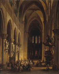 figures attending mass by jules victor genisson