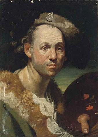portrait of the artist in a green cloak with fur collar holding a palette in his left hand by johann joseph zoffany