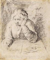 portrait of a young man writing by jacques de gheyn ii