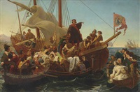 departure of columbus from palos in 1492 by emanuel gottlieb leutze