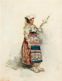 a woman in italian peasant costume spinning wool (+ a young woman in italian peasant costume carrying a basket; pair) by daniele bucciarelli