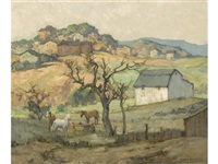 barn and hillside by maurice braun