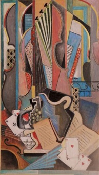 composition cubiste au violoncelle by petroff