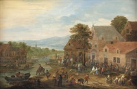 a townscape with fruit vendors, horsemen and villagers making merry by mathys schoevaerdts