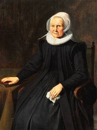 an old dignified woman in a black dress with white collar and bonnet. her right hand on the bible by gerrit dou