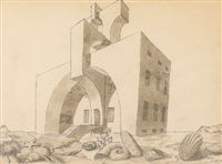 a building set on a beach with shells and seaweed in foreground by emilio terry